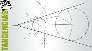 Rectas tangentes exteriores a dos circunferencias mediante homotecia. (Tangencias)