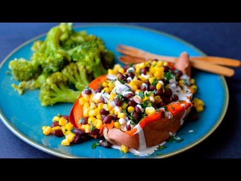 Vegan Baked Sweet Potato Stuffed w/ Black Bean & Corn