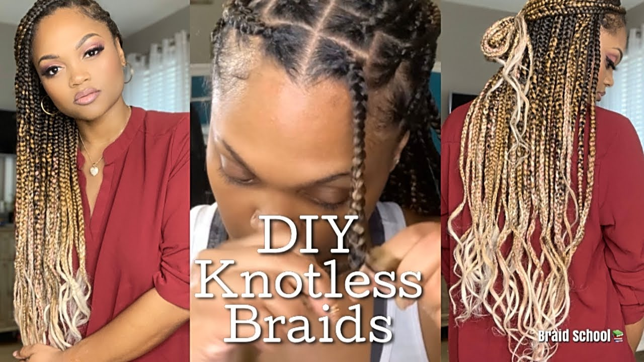 Braiding My Own Hair Blonde Ombre Knotless Braids