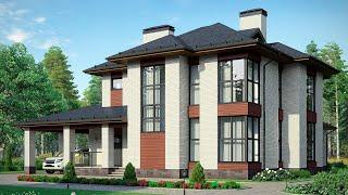 Проект дома в современном стиле из кирпича. Дом с эркером, терраса, второй свет Ремстройсервис М-269