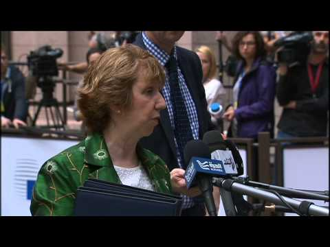 Catherine Ashton talking about the crash of Malaysian flight MH17