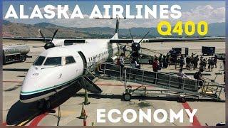 STEEP APPROACH! Alaska Airlines (Horizon Air) Dash 8 Q400 trip report, San Jose to Salt Lake City