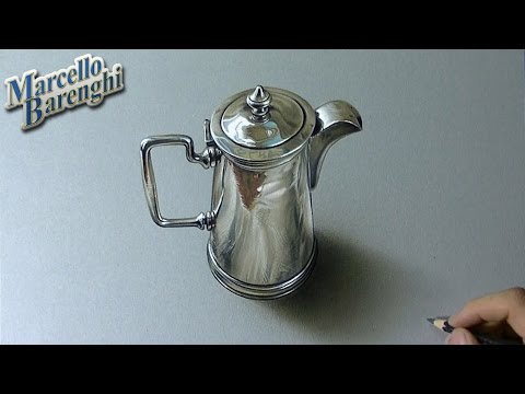 Drawing Time Lapse: silver pitcher – hyperrealistic art