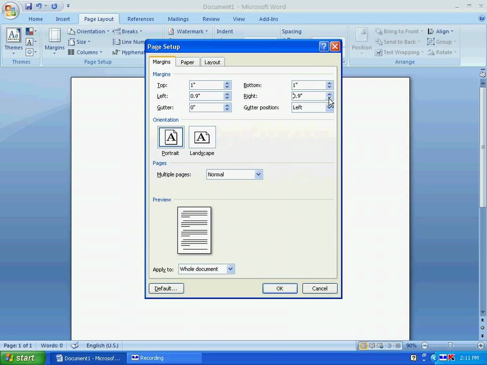 Word 114 Printing A Check Page Setup Youtube