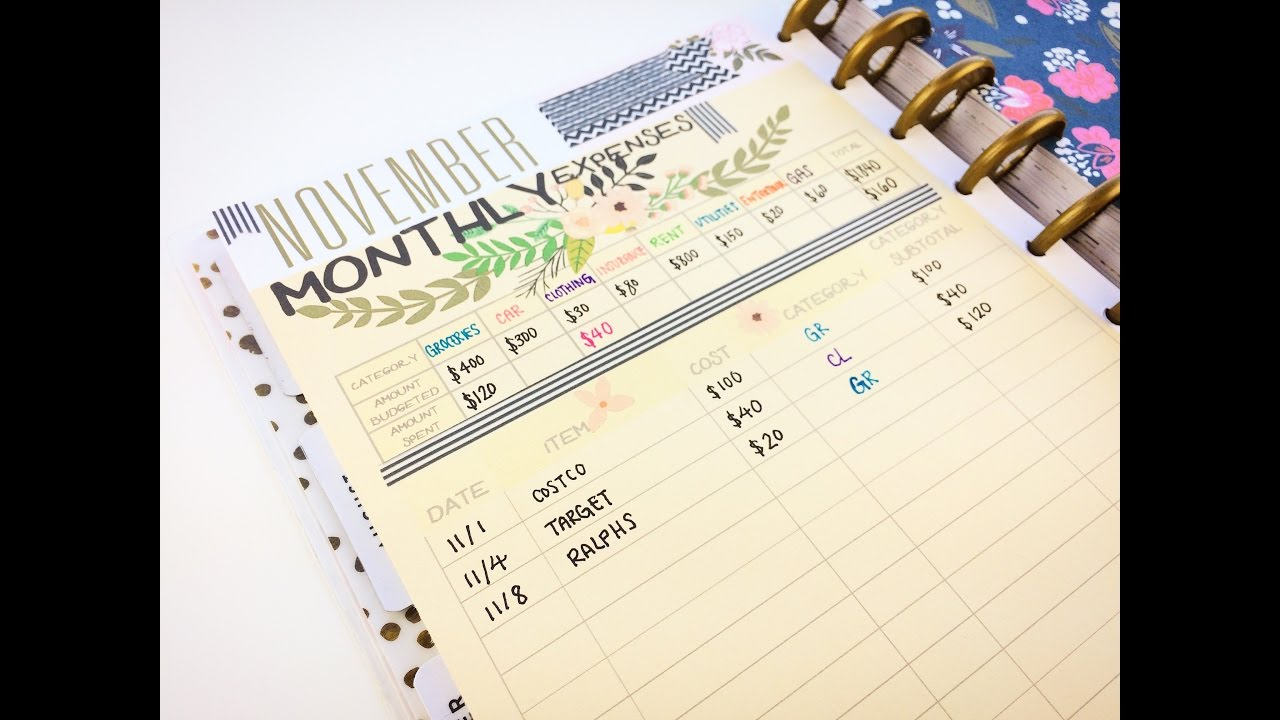 free printable how to use a budget tracker in your happy planner