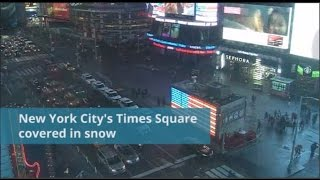 A time lapse video shows New York City's Times Square covered in snow    Reuters