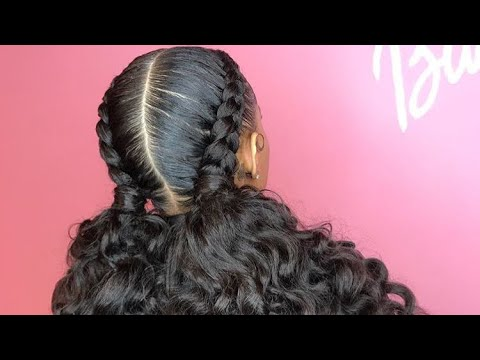 Feed In Braids With Curly Ponytail Youtube