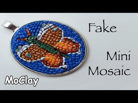 DIY necklace pendant - Polymer Clay Micro Mosaic
