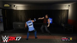 WWE 2K17 - AJ Styles vs. Dean Ambrose: Falls Count Anywhere Match and Backstage Brawl