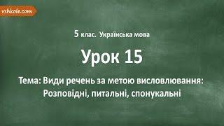 #15 Види речень за метою висловлювання. Відеоурок з української мови 5 клас