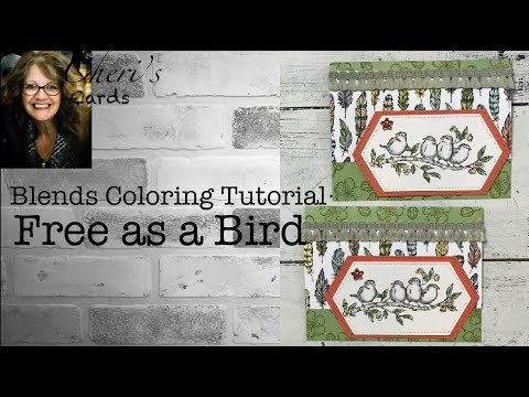 Free As A Bird Blend Coloring Tutorial Handmade Stampin' Up! Copic Style Card