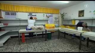 Schlange stehen für Brot, Gemüse & Obst in Stralsund bei Tafel