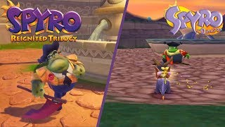 Spyro Reignited Trilogy - Town Square PS4 VS PS1 Gameplay Graphics Comparison!