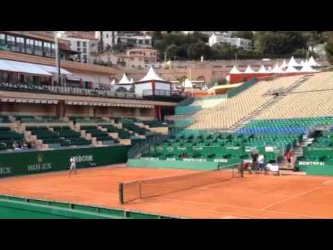 Novak practicing with Dolgopolov (Monte Carlo 2014)