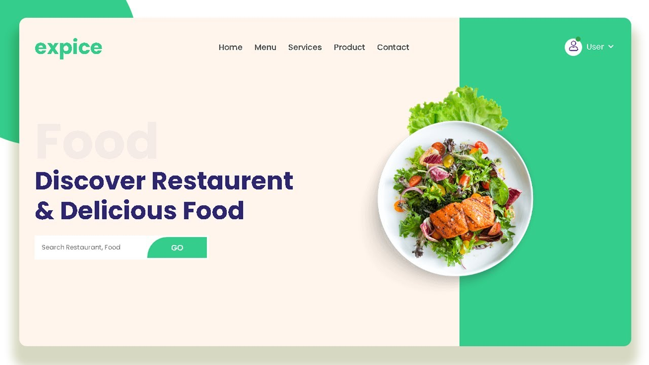 How To Make Food Website Design Using HTML & CSS | Food Landing Page Tutorial