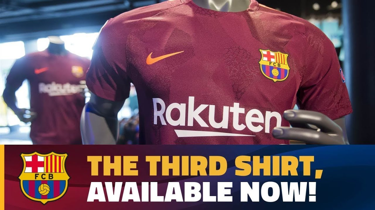 Nike presents dark maroon FC Barcelona third strip for 2017 18 season bd39ea67743