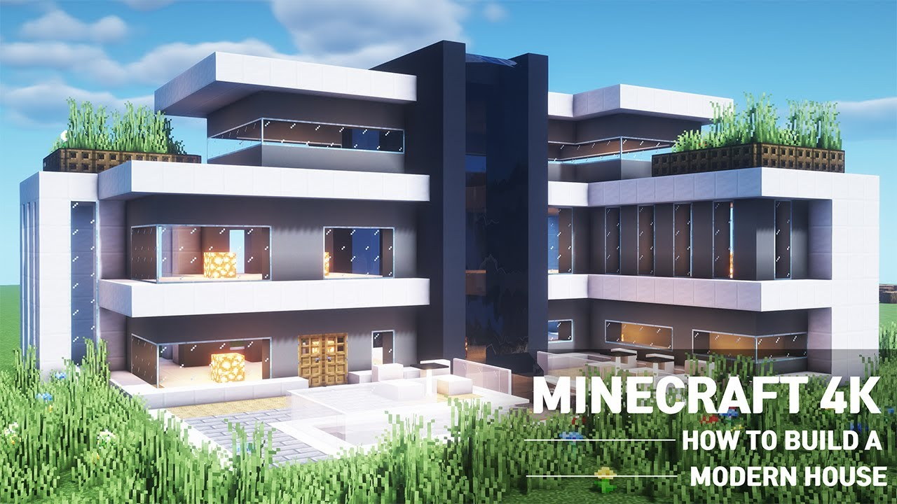 Minecrafttutorial How To Build A Large Modern House 107 Youtube