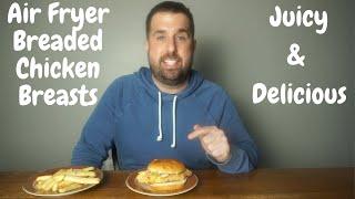 Air Fryer Breaded Chicken Breasts  Tender and Juicy