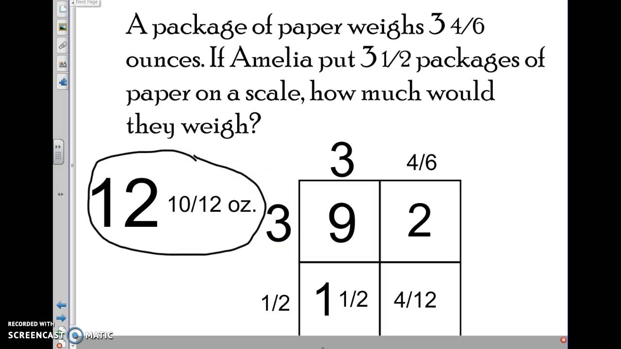 worksheet Multiplication Of Mixed Numbers Worksheets multiplying mixed numbers word problems 5 nf b 6 youtube