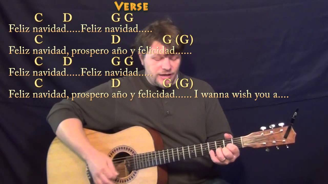 Feliz Navidad Strum Guitar Cover Lesson In G With Chordslyrics