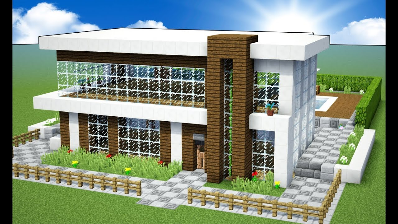 Minecraft tutorial casa moderna manyacraft youtube for Tutorial casa moderna grande minecraft