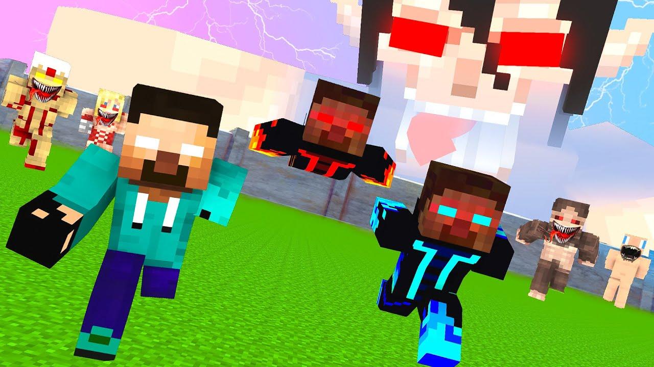 Monster School HeroBrine Save World From Bad Titan  - Minecraft Animation