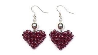 Tutorial: Beaded ❤ HEART ❤ Earrings / МК: Серьги из бисера СЕРДЕЧКИ