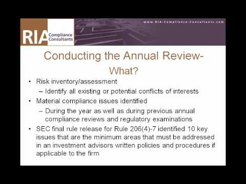 Video About Conducting An Annual Review of an SEC Registered Investment Adviser