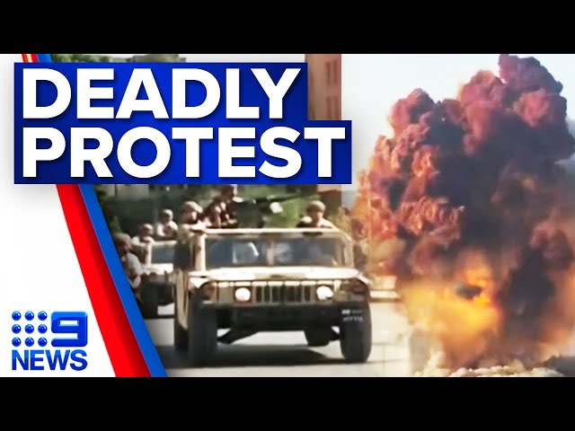 Gunfire breaks out in Beirut rally | 9 News Australia