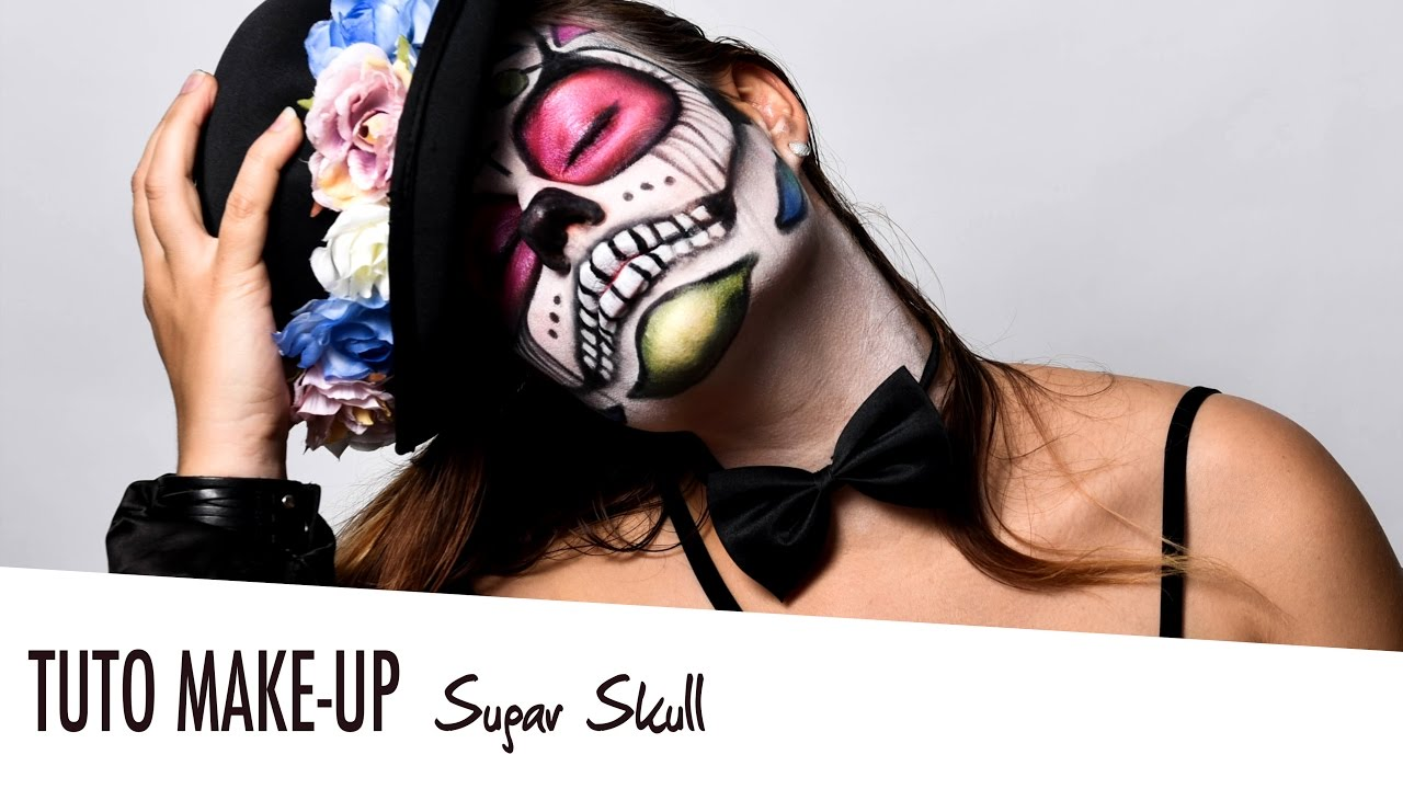 tuto maquillage makeup sugar skull t te de mort. Black Bedroom Furniture Sets. Home Design Ideas