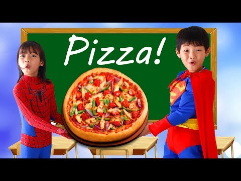 Spiderman Teacher Superman Learn Color PIZZA w/ Elsa paint CROCODILE eat Snack School Color