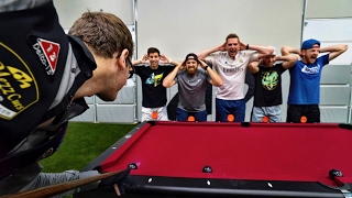 Dude Perfect teams back up w/ Pool Trick Shot legend Florian 'Venom' Kohler Watch the BONUS video for some behind the scenes pool table fun!