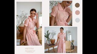 Романтичное платье в ретро стиле с большими пуговицами Розовая гамма тренд SS 21 по версии Vogue