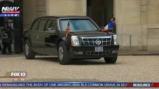 WATCH: President Trump & French President Macron Arrive at Presidential Palace in Paris (FNN)