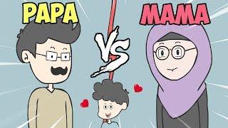 Perbedaan Mama Vs Papa  Ft. Tiara N Tun  - Kartun Lucu Zanmation