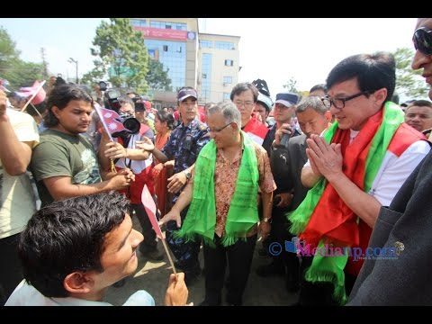 Hollywood celebrity Jackie Chan in Nepal