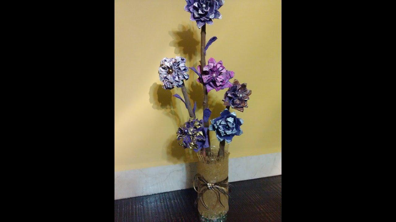 DIY Arreglo hecho con flores de cartn de huevo Flower arrangement made with egg carton flowers  YouTube
