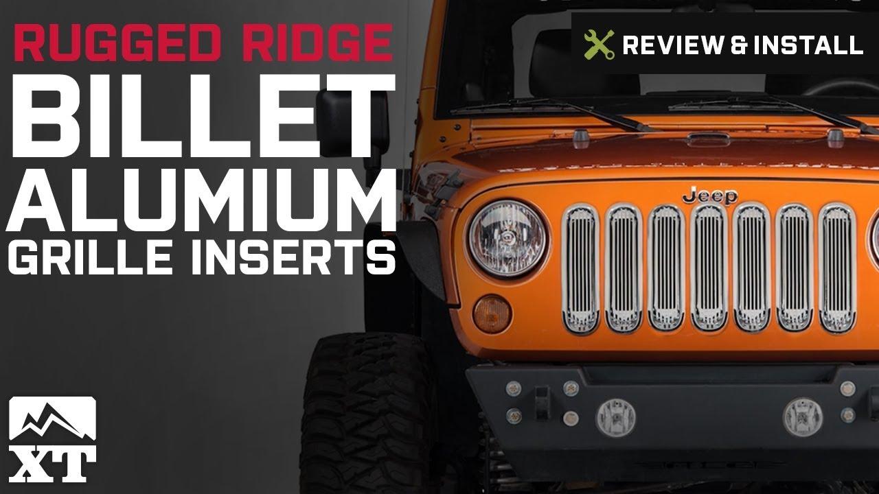 rugged ridge jeep wrangler black billet aluminum grille inserts 11401 30 07 18 jeep wrangler jk  [ 1280 x 720 Pixel ]