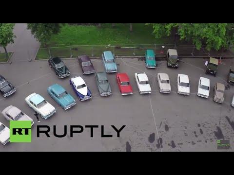 Russia: Drone captures the 'Automobile Organ' made of retro Soviet cars