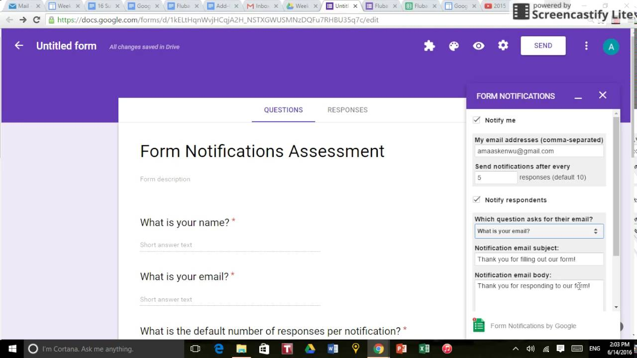 How to Use Form Notifications in Google Forms - YouTube