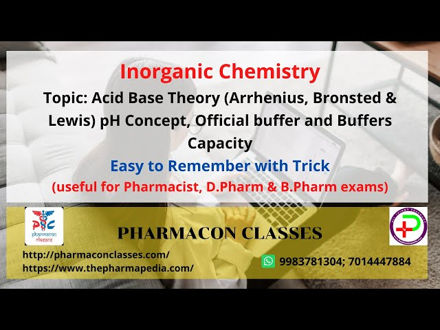 Acid base Theory  (Arrhenius, Bronsted & Lewis), pH Concept, Official buffer & Buffers capacity