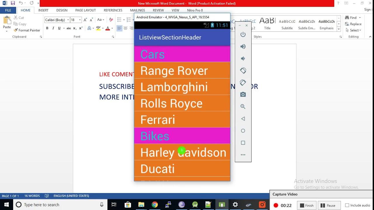 Listview Section Header - YouTube
