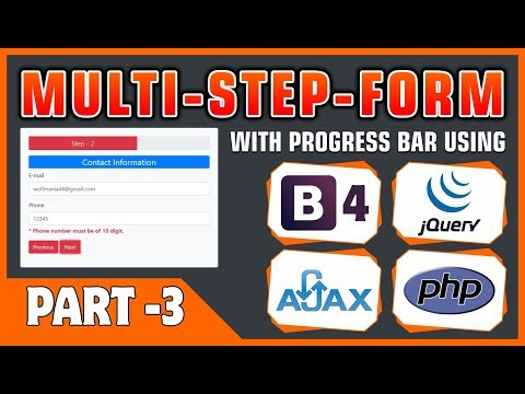 #03 Multi-Step-Form With Progress Bar Using Bootstrap 4, JQuery, Ajax & PHP | Form Validation