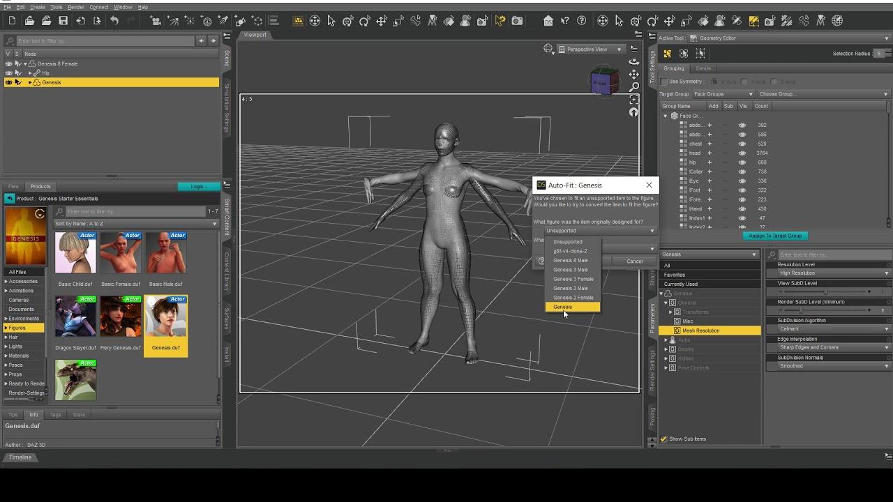 Daz Studio: Transferring a V4 clone to G8F