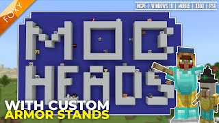 MOB HEADS for MCPE (+Custom Armor Stands) | Add-on | Bedrock Edition Tutorial