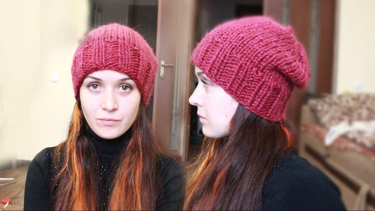 Вязанная шапочка спицами простая