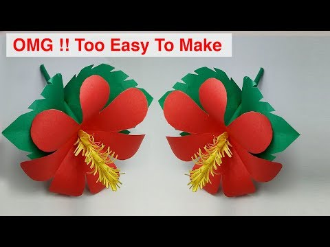 ►► Paper Craft: How To Make Paper Hibiscus Flower Easy Step By Step | Lovely Easy Crafts