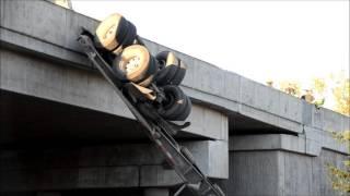 Langley dump truck off overpass Hwy-1