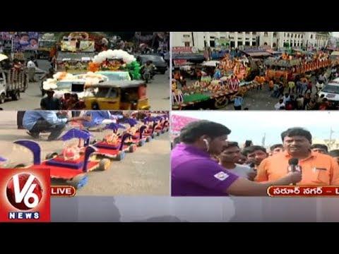 Police & GHMC Officers Speaks On Ganesh Nimajjanam Arrangements At Saroornagar Mini Tank Bund | V6