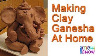 How to make Ganesha Idol at Home| Making Ganesha idol with clay| #Happyvinayakachavithi |Litchi Show